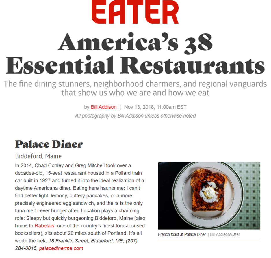 Palace Diner in America's 38 Essential Restaurants