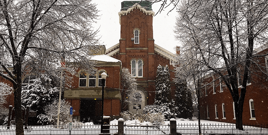 McArthur Library in a snowfall