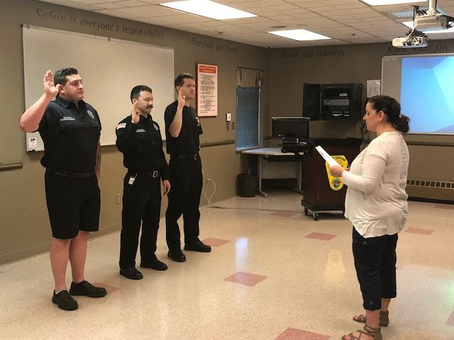 New Fire Department Employees are Sworn In by City Clerk Carmen Morris