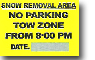 Snow Removal Parking Ban Yellow Sign
