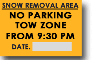 Snow Removal Parking Ban Orange Sign