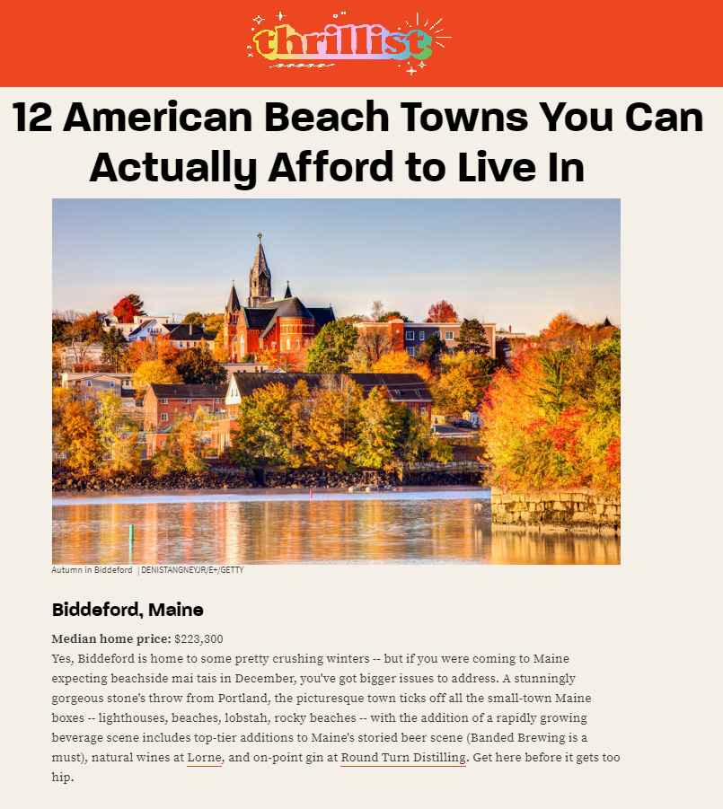 Thrillist Article - 12 American Beach Towns You Can Actually Afford to Live In