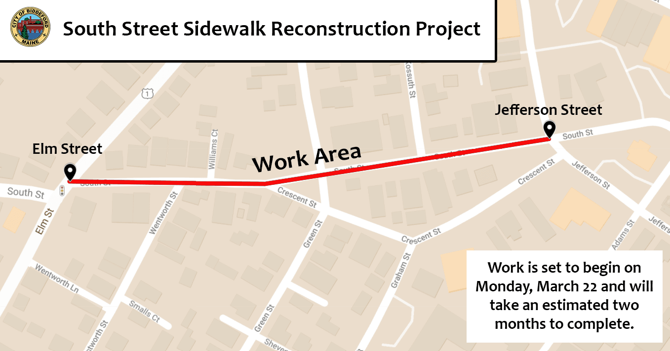 South Street Sidewalk Project Map